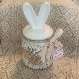 Bunny ears topper clear glass canister